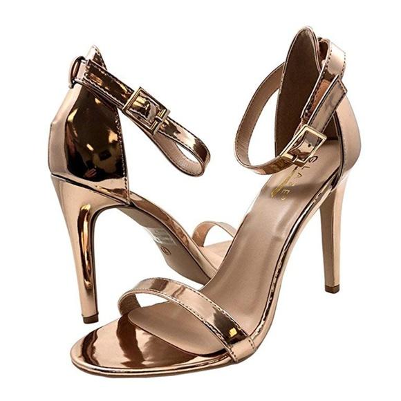 d87954de5a5c Rose Gold Classic High Heel Sandals Ankle Strap. Boutique. Glaze